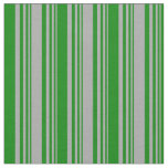 [ Thumbnail: Dark Grey and Green Lines/Stripes Pattern Fabric ]