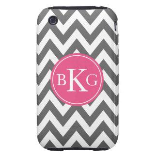 Dark Grey and Hot Pink Chevron Custom Monogram iPhone 3 Tough Cover