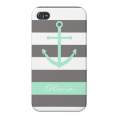 Dark Grey And Mint Anchor Monogram Case at Zazzle