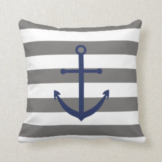 Dark Grey and Navy Blue Anchor Pillow