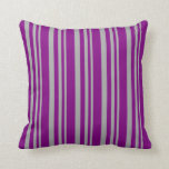 [ Thumbnail: Dark Grey and Purple Lines Pattern Throw Pillow ]