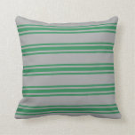 [ Thumbnail: Dark Grey and Sea Green Colored Pattern Pillow ]
