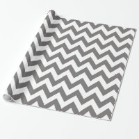 Dark Grey and White Chevron Wrapping Paper