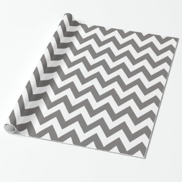 Christmas Themed Dark Grey and White Chevron Wrapping Paper
