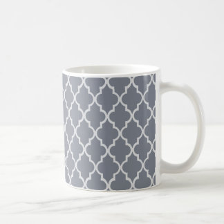 Dark Grey And White Moroccan Trellis Pattern Coffee Mug