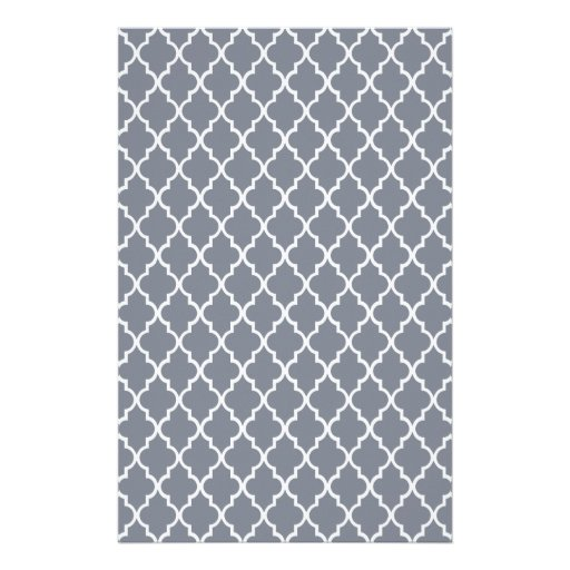 Dark Grey And White Moroccan Trellis Pattern Customized Stationery