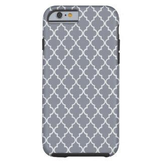 Dark Grey And White Moroccan Trellis Pattern Tough iPhone 6 Case