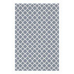 Dark Grey And White Quatrefoil. Moroccan Pattern Customized Stationery