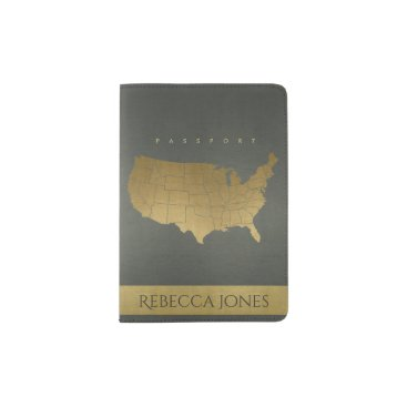USA Themed DARK GREY ANTIQUE GOLD USA MAP LEATHER MONOGRAM PASSPORT HOLDER