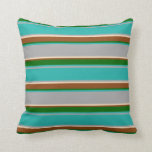 [ Thumbnail: Dark Grey, Bisque, Brown & Green Lines Pillow ]
