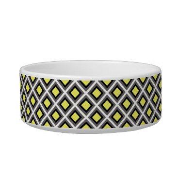 Aztec Themed Dark Grey, Black, Yellow Ikat Diamonds Bowl