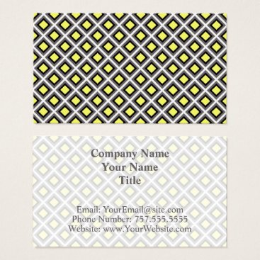 Aztec Themed Dark Grey, Black, Yellow Ikat Diamonds by STaylor Business Card