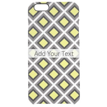 Aztec Themed Dark Grey, Black, Yellow Ikat Diamonds by STaylor Clear iPhone 6 Plus Case
