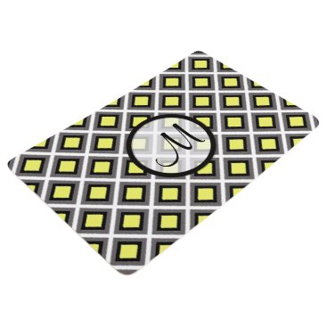 Aztec Themed Dark Grey, Black, Yellow Ikat Diamonds by STaylor Floor Mat