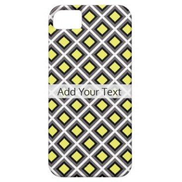 Aztec Themed Dark Grey, Black, Yellow Ikat Diamonds by STaylor iPhone SE/5/5s Case