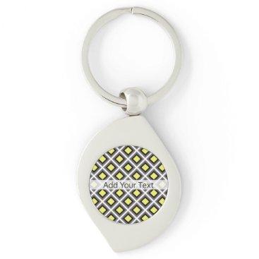 Aztec Themed Dark Grey, Black, Yellow Ikat Diamonds by STaylor Keychain