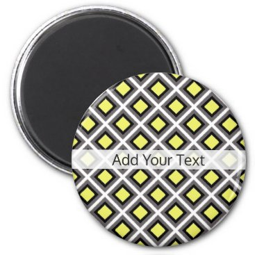 Aztec Themed Dark Grey, Black, Yellow Ikat Diamonds by STaylor Magnet