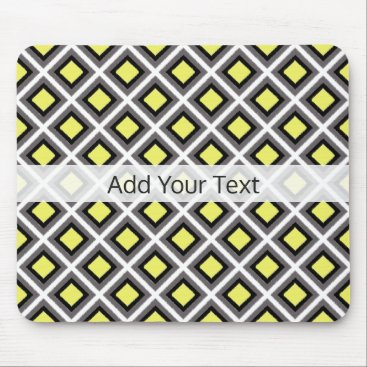 Aztec Themed Dark Grey, Black, Yellow Ikat Diamonds by STaylor Mouse Pad