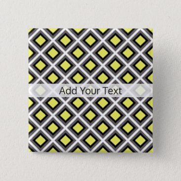 Aztec Themed Dark Grey, Black, Yellow Ikat Diamonds by STaylor Pinback Button