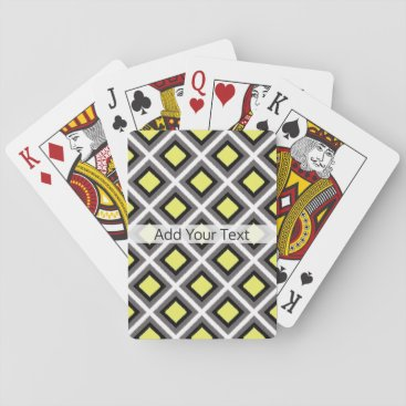 Aztec Themed Dark Grey, Black, Yellow Ikat Diamonds by STaylor Playing Cards