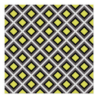 Dark Grey, Black, Yellow Ikat Diamonds by STaylor Poster