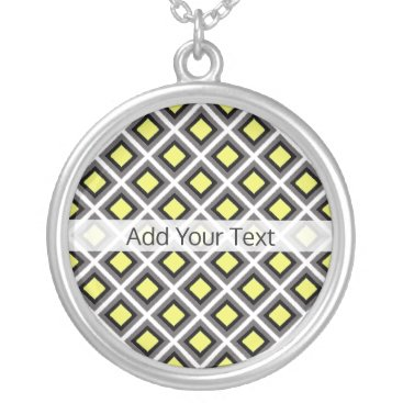 Aztec Themed Dark Grey, Black, Yellow Ikat Diamonds by STaylor Silver Plated Necklace