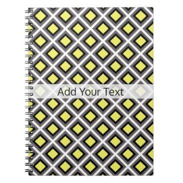 Aztec Themed Dark Grey, Black, Yellow Ikat Diamonds by STaylor Spiral Notebook