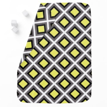 Aztec Themed Dark Grey, Black, Yellow Ikat Diamonds by STaylor Swaddle Blanket