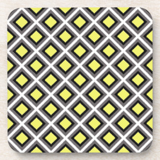 Dark Grey, Black, Yellow Ikat Diamonds Coaster