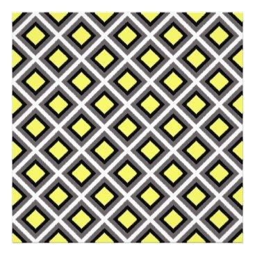 Aztec Themed Dark Grey, Black, Yellow Ikat Diamonds Photo Print