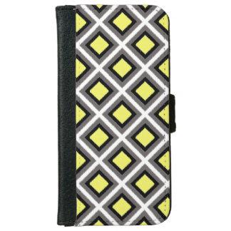 Dark Grey, Black, Yellow Ikat Diamonds iPhone 6 Wallet Case