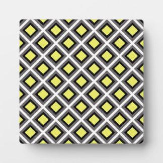 Dark Grey, Black, Yellow Ikat Diamonds Plaque