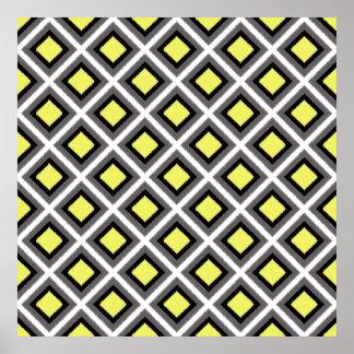 Dark Grey, Black, Yellow Ikat Diamonds Poster