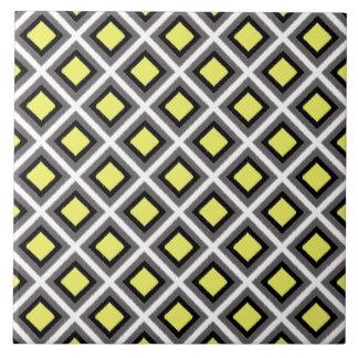 Dark Grey, Black, Yellow Ikat Diamonds Tile