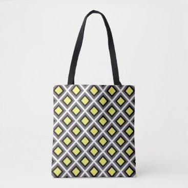 Aztec Themed Dark Grey, Black, Yellow Ikat Diamonds Tote Bag