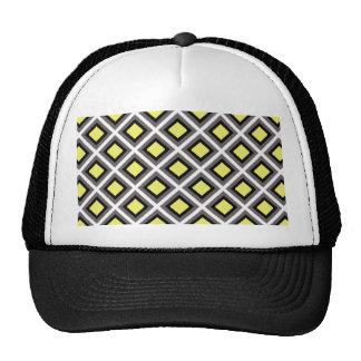 Dark Grey, Black, Yellow Ikat Diamonds Trucker Hat