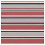 [ Thumbnail: Dark Grey, Brown, Light Cyan & Black Stripes Fabric ]