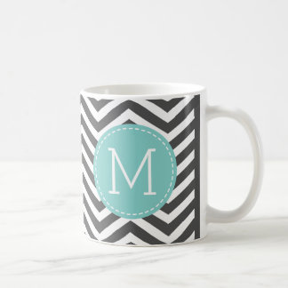 Dark Grey Chevron Pattern with monogram Coffee Mug