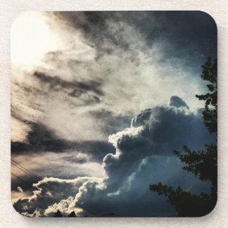 Dark Grey Clouds Cork Coaster