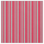 [ Thumbnail: Dark Grey & Crimson Colored Stripes/Lines Pattern Fabric ]