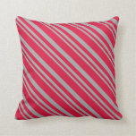 [ Thumbnail: Dark Grey & Crimson Colored Stripes/Lines Pattern Throw Pillow ]