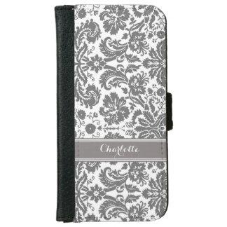 Dark Grey Damask Pattern Monogram iPhone 6/6s Wallet Case