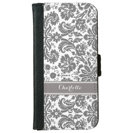 Dark Grey Damask Pattern Monogram Iphone 6 Wallet Case