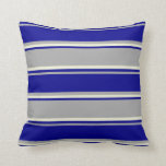 [ Thumbnail: Dark Grey, Dark Blue, and Beige Colored Lines Throw Pillow ]