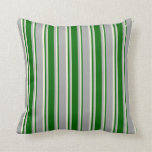 [ Thumbnail: Dark Grey, Dark Green, and Beige Stripes Pillow ]
