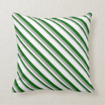 [ Thumbnail: Dark Grey, Dark Green & White Colored Pattern Throw Pillow ]