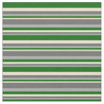 [ Thumbnail: Dark Grey, Dim Grey, Beige & Dark Green Stripes Fabric ]