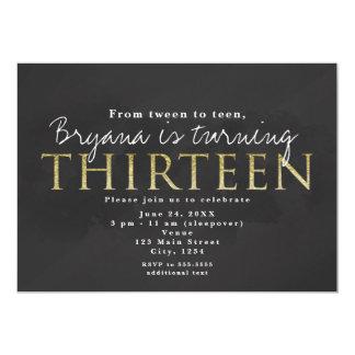 Dark Grey & Gold 13TH 13 Birthday Party Invitation