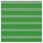 [ Thumbnail: Dark Grey & Green Colored Lines Pattern Fabric ]