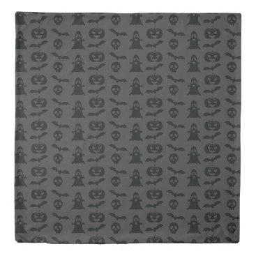 Halloween Themed Dark Grey Halloween Objects Pattern Duvet Cover